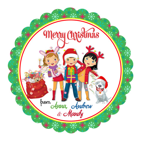 "Custom Christmas Printable 2.5'' Tags- Kids Merry Christmas Wishes Personalized Tags-DIY (You Print) 2.5"" tags-Digital File"