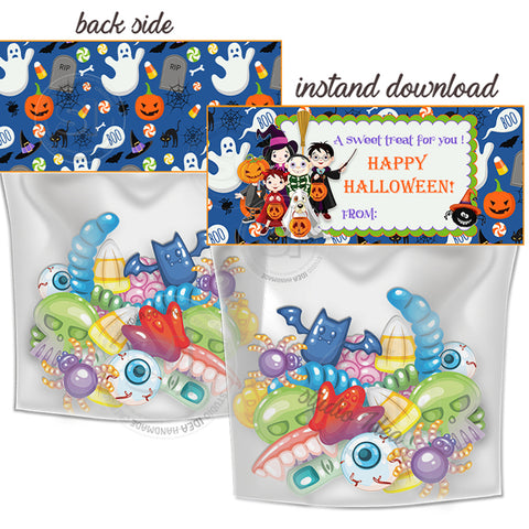 INSTANT DOWNLOAD-Happy Halloween Kids in Costumes Customized Printable Bag Toppers-Personalized Happy Halloween- Candies Bag tag-Party Favor DIY Tags-2 sided sweets bag topper