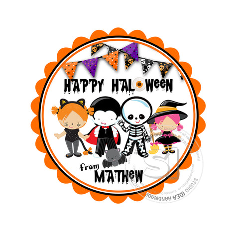 Happy Halloween  Custom Printable 2.5'' Tags-Personalized Happy Halloween Kids in Costumes -2.5 inches Tags- Party Favor DIY Stickers - Tags -Digital file