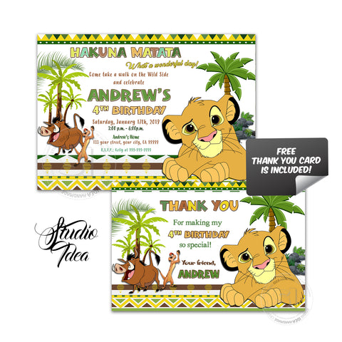 Simba-Lion King Birthday Party Printable Invitation with FREE Thank you Card-DIY Digital File-Simba-Lion King Birthday Invitation -You Print