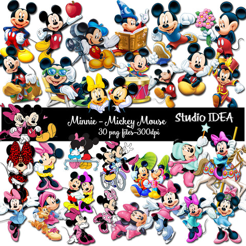 30 High Quality Mickey & Minnie png Images-Mickey Mouse and Minnie Mouse Clipart Images-Transparent background Printable Imaages