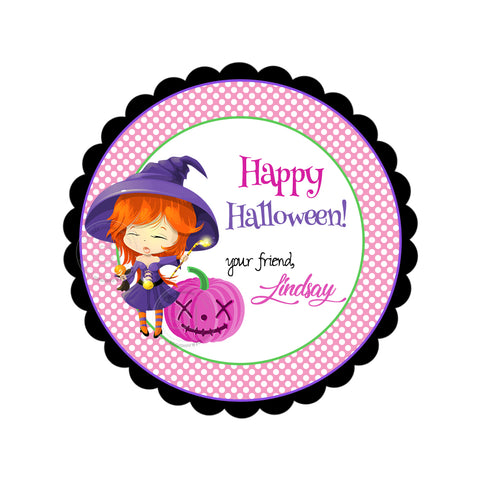 Happy Halloween  Custom Printable 2.5'' Tags-Personalized Halloween-cute Witch -pink pumpkin- 2.5 inches Tags- Party Favor DIY Stickers - Tags -Digital file