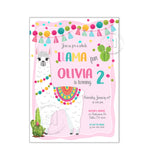 Llama Party Printable Invitation with FREE Thank you Card-DIY Digital File-Llama Fun Birthday Invitation -You Print
