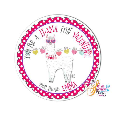 "Llama Fun Valentine's day Custom Printable Tags- 2.5"" Tags-Happy Valentine's Day- Personalized 2.5 inches Tags- Stickers DIY Favor Tags- Funny Valentine's tag"