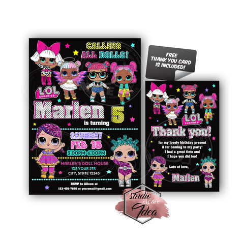 Custom LOL Surprise Dolls Birthday Invitation with FREE matching Thank you Card- Printable Invitations-Personalized Birthday, Baby Shower Thank you Cards-Digital File-YOU PRINT
