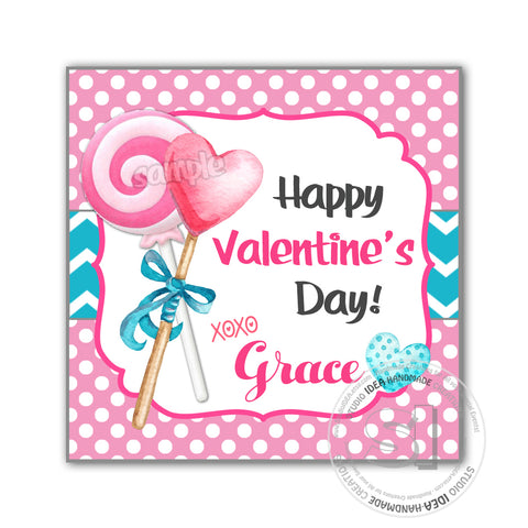 "Valentine's day Custom Printable Tags- 2.5"" Tags-Happy Valentine's Day Personalized 2.5 inches Tags- Stickers DIY Favor Tags-Heart Lollipops Sweet Valentine's tag"