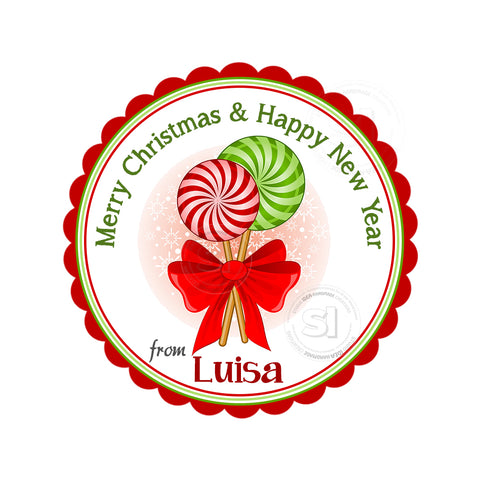 "Christmas tag-Lollipops-Happy Holidays-Wishes Personalized Printable 2.5"" Tag-Merry Christmas  2.5 inches Circle Tags DIY Favor Tags-Stickers"
