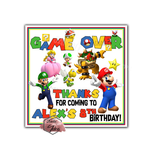 "Custom Super Mario Birthday Thank you Printable 2.5"" Tags-Personalized Super Mario Birthday party thank you 2.5 inches Tags-Stickers DIY Birthday Favor Tags"