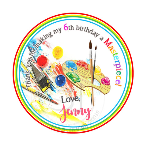 "Custom Art Party Printable 2.5"" Tags-Personalized Masterpiece Theme Birthday 2.5 inches Tags - DIY Favor Tags-Stickers"