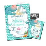 Mermaid Party Printable Invitation with FREE Thank you Matching Tag-DIY Digital File-Mermaid Tale Birthday Invitation -You Print