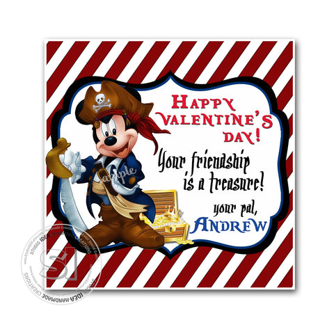 "Valentine's day Custom Printable Tags- 2.5"" Tags-Happy Valentine's Day Personalized 2.5 inches Tags- Stickers DIY Favor Tags-Mickey Pirate Valentines tags"
