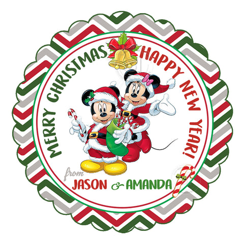 "Minnie-Mickey Happy Holidays-Christmas Wishes Personalized Printable 2.5"" Tag-Merry Christmas  2.5 inches Circle Tags DIY Favor Tags-Stickers"