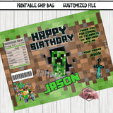 Printable Chip Bag file-Custom Mine Theme Personalized CHIP BAG-Digital File-YOU PRINT