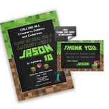 Custom Mine Theme Party Printable Invitation with FREE Thank you Card-DIY Digital File-Customized Mine Theme Birthday Invitation -You Print