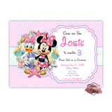 Minnie Mouse and Daisy Party Printable Invitation with FREE Thank you Tag-DIY Digital File- Minnie and Daisy Duck -Summer-Sea Birthday Invitation and tag -You Print