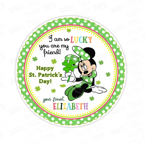 Minnie Happy St. Patrick's Day Printable Tag-Funny St Patrick's Day-D.I.Y Tags-You Print-St. Patrick's Personalized Tag-Sticker-size 2.5""