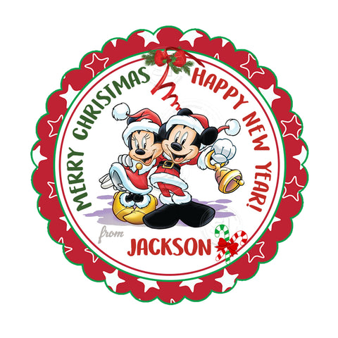 "Mickey and Minnie Happy Holidays-Christmas Wishes Personalized Printable 2.5"" Tag-Merry Christmas  2.5 inches Circle Tags DIY Favor Tags-Stickers"
