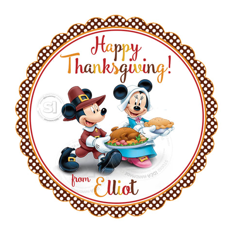 Minnie-Mickey Happy Thanksgiving Custom Printable 2.5'' Tags-Personalized Thanksgiving 2.5 inches Tags- Party Favor DIY Stickers - Tags -Digital file