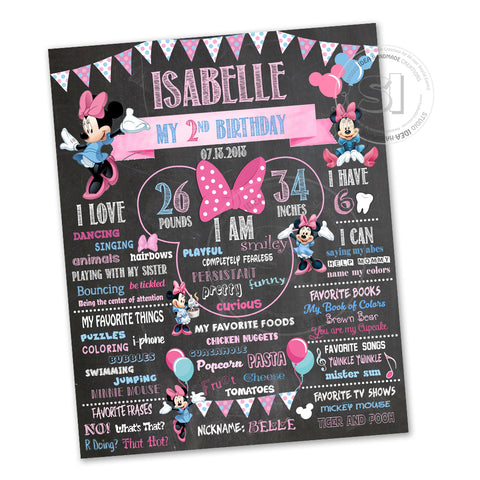 "Minnie Mouse Printable Stats Sign - Minnie Personalized Stats Poster 16""x 20"" or  20"" x 24""- Printable Disney Minnie Mouse Birthday Statistics Sign- DIY Digital File"