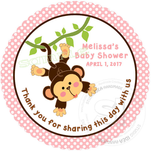 "Custom cute Monkey Baby Shower Thank you Printable 2.5"" Tags-Personalized Monkey thank you 2.5 inches Tags- baby Shower Stickers DIY Birthday Favor Tags"