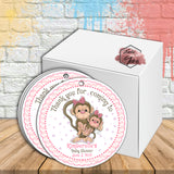 "Monkey Girl Baby Shower Thank you Printable 2.5"" Tags-Personalized Monkey thank you 2.5 inches Tags- baby Shower Stickers DIY Birthday Favor Tags"