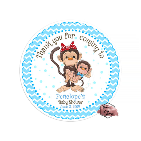 "Monkey Boy Baby Shower Thank you Printable 2.5"" Tags-Personalized Monkey thank you 2.5 inches Tags- baby Shower Stickers DIY Birthday Favor Tags"
