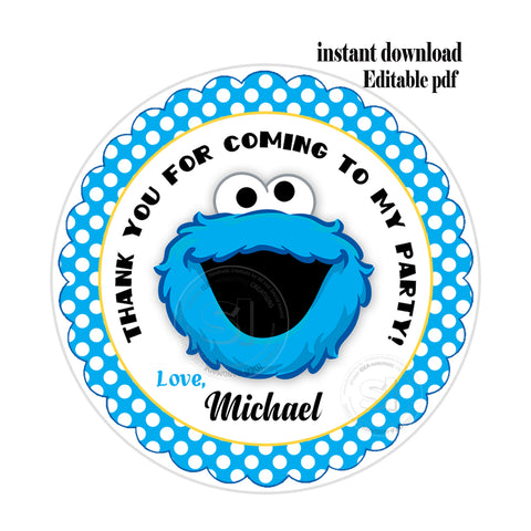 "Monster Cookie Party-EDITABLE-INSTANT DOWNLOAD- Sesame Street Personalized Printable 2.5"" Tags-INSTANT DOWNLOAD Tags- Stickers DIY Favor Tags"