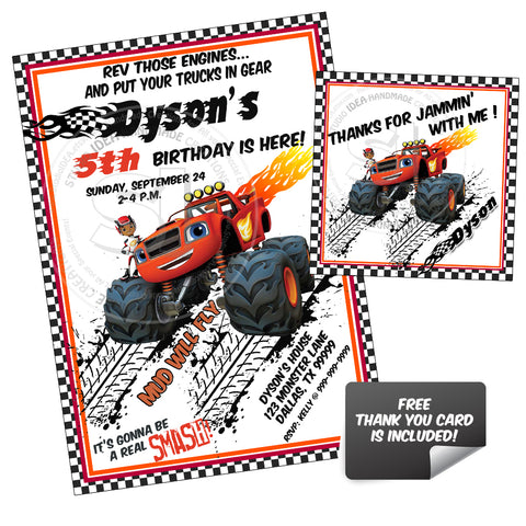 Monster Truck -Blaze Party Printable Invitation with FREE Thank you Tag-DIY Digital File-Blaze Birthday Invitation -You Print