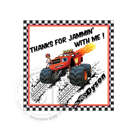 Monster Truck Blaze Party Printable Invitation With FREE Thank You Tag DIY Digital File Birthday Print