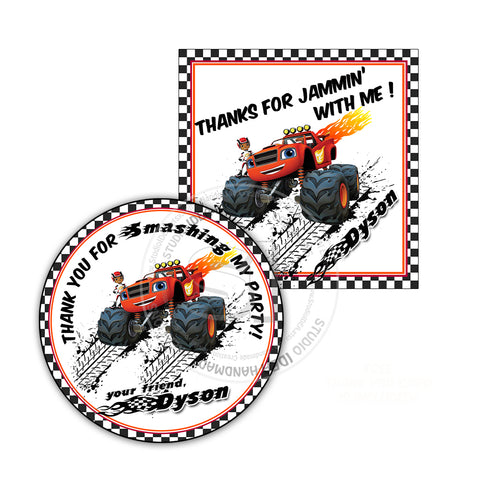 Monster Truck -Blaze Party Printable Thank you Tag-DIY Digital File-Blaze Birthday Tag Circle or Square  Tag - Digital File - You Print