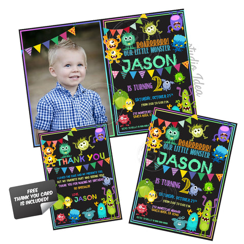 Monsters Theme Party Printable Invitation with kids photo or not -FREE Thank you Card included -DIY Digital File-Monsters Birthday Invitation -You Print