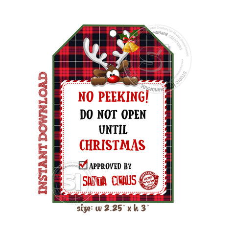 "INSTANT DOWNLOAD- No Peeking-Do Not Open until Christmas-Tag- Printable Rectangle Tag-Merry Christmas  3""x 2.25"" Tags DIY Favor Tags-Stickers"