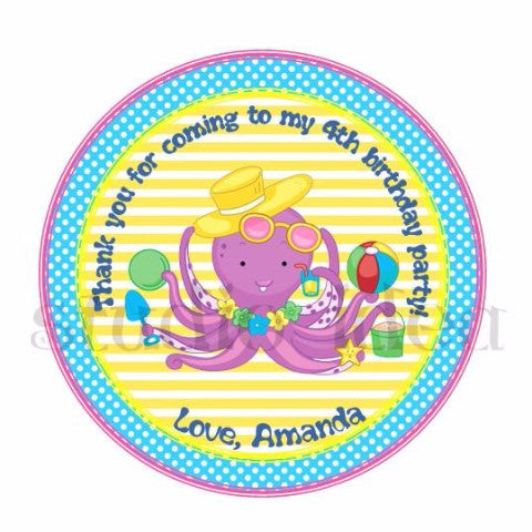 "Custom Cute Octopus Thank you Printable 2.5"" Tags-Personalized Octopus- Summer 2.5 inches Tags- Stickers DIY Favor Tags"