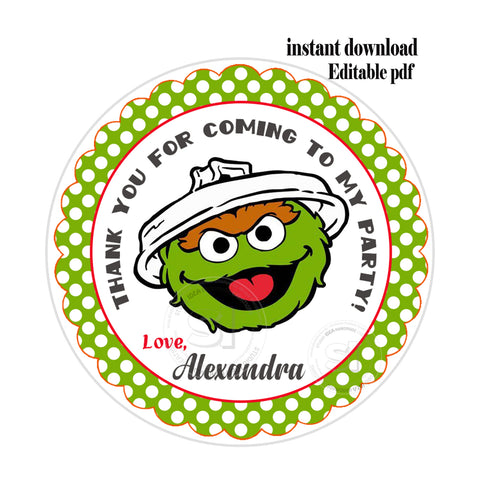 Oscar The Grouch Sesame Street Party Editable Instant Download Sesame Street Personalized Printable 2 5 Tags Instant Download Tags Stickers Diy