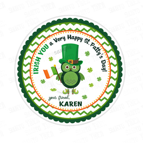 St. Patrick's Day Printable Tag-Happy St Patrick's Day-D.I.Y Tags-You Print-St. Patrick's Personalized Tag-Sticker-size 2.5""