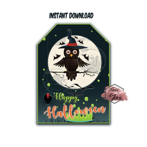 INSTANT DOWNLOAD- Happy Halloween Owl Theme -Printable 2.5'' Tags-Happy Halloween 2.5 inches Tags- Party Favor DIY Stickers