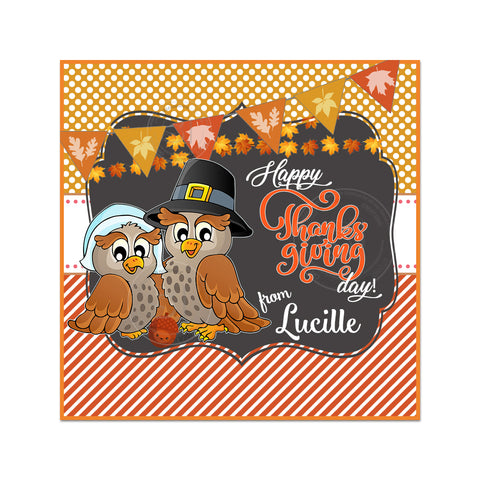 Owls Thanksgiving Custom Printable 2.5'' Square Tags-Personalized Happy Thanksgiving 2.5 inches Tags- Party Favor DIY Stickers - Tags -Digital file