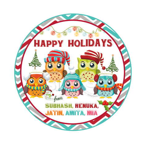 "Custom Christmas Printable 2.5'' Tags-Christmas Owl Family Wishes Personalized Tags-DIY (You Print) 2.5"" tags-Digital File"