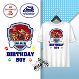 CUSTOMIZED-IRON-ON TRANSFER-BIRTHDAY BOY OR GIRL- PAW PATROL Inspired Theme IRON ON Transfer- Birthday Boy or Girl Customized Printable file                                 Party T-Shirt prints