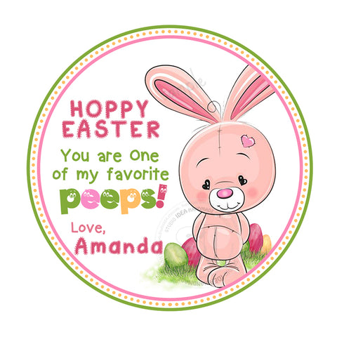 Easter cute Bunny Custom Printable 2.5'' Tags-Personalized Happy Easter 2.5 inches Tags- Party Favor DIY Stickers - Tags -Digital file