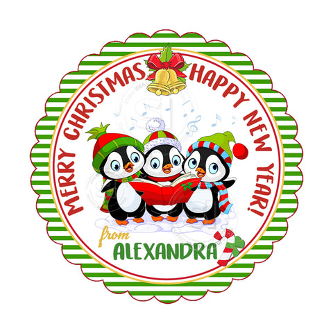 "Custom Christmas Printable 2.5'' Tags-Penguin Singing Christmas Wishes Personalized Tags-DIY (You Print) 2.5"" tags-Digital File"