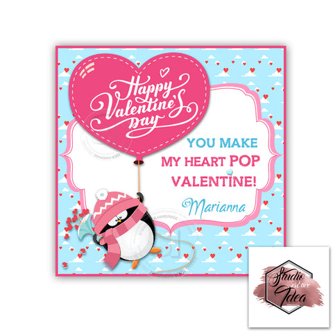 "Valentine's day Custom Printable Tags- 2.5"" Tags-Happy Valentine's Day Personalized 2.5 inches Tags- Stickers DIY Favor Tags- Cute Penguin - Heart Balloon Valentines tags"