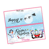 Season's Greetings-Merry Christmas Customized Printable Bag Toppers-Personalized Penguins and Snowman Holidays Candies bag topper-Party Favor DIY Tags-2 sided sweets bag topper