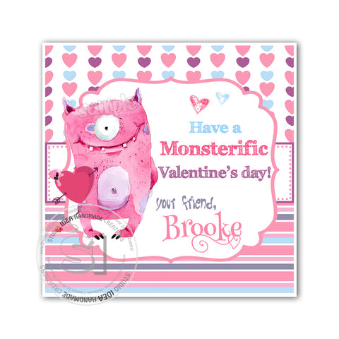 "Valentine's day Custom Printable Tags- 2.5"" Tags-Happy Valentine's Day Personalized 2.5 inches Tags- Stickers DIY Favor Tags-cute Monster Valentines tags"