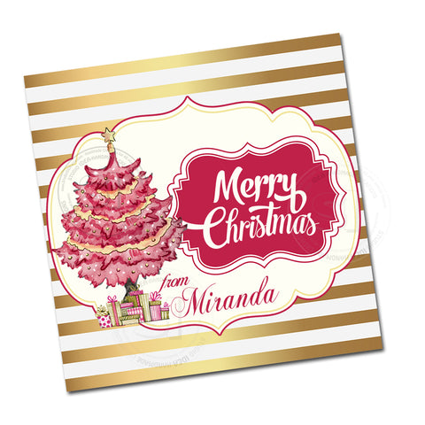 "Custom Christmas Printable 2.5'' Tags- Pink Christmas Tree Wishes Personalized Tags-DIY (You Print) 2.5"" tags-Digital File"