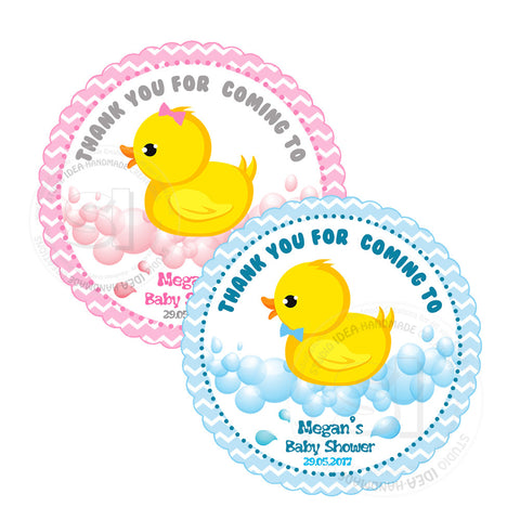 "Custom cute Duck Thank you Printable 2.5"" Tags-Personalized Baby Shower thank you 2.5 inches Tags- Pink or Blue Baby Shower Stickers DIY Favor Tags"