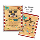 Custom Pirates Theme Invitation with FREE Pirate Treasure Map Scavenger Hunt -Personalized Pirates theme Party Printable - Digital File
