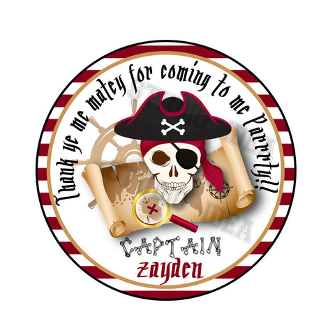 "Custom Pirates Theme Party Printable 2.5"" Tags-Personalized Pirate Skull Birthday 2.5 inches Tags- Stickers DIY Favor Tags"