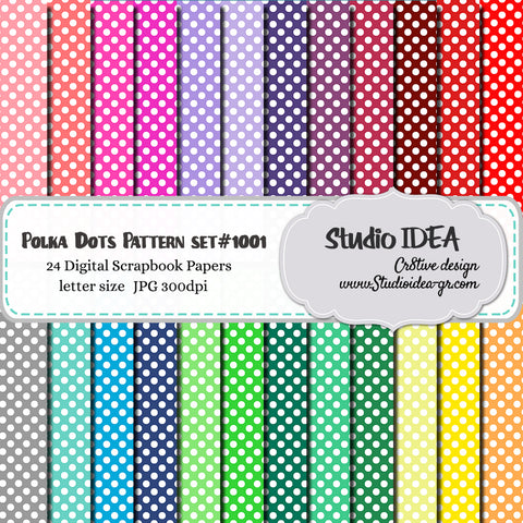 Polka Dots Pattern Design-Set #1001- Digital Scrapbooking Paper- Letter Size- 300dpi- High Resolution Digital Design Paper- INSTANT DOWNLOAD