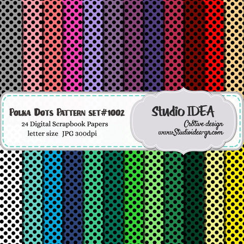 Black Polka Dots Pattern Design-Set #1002- Digital Scrapbooking Paper- Letter Size- 300dpi- High Resolution Digital Design Paper- INSTANT DOWNLOAD